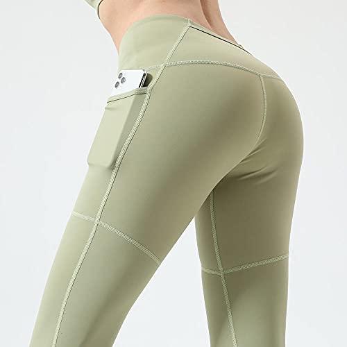 XUNHOU Pantalones de Yoga elásticos rápido y Transpirables,Pantalones de Yoga con Bolsillo de Cintura Alta,Leggings de Cadera con Efecto Tie-Dye-Verde Claro_M,Pantalones de Yoga/Pilates súper Suaves