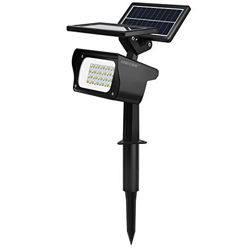 Faretti solari con doppio pannello solare, MEIKEE Faretto da giardino solare, IP65 impermeabile 40 LED 3 colori, lampade solari per esterni per giardino, cortile, paesaggio, prato, percorso, patio