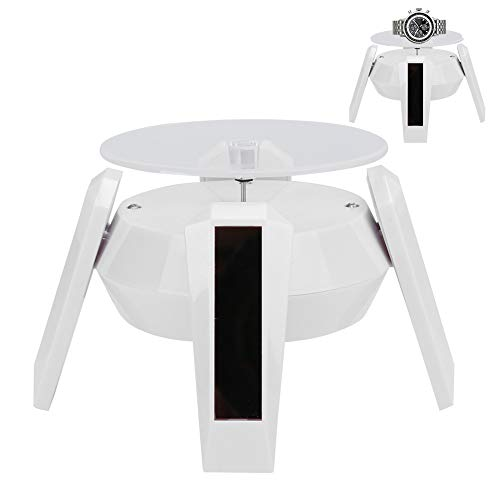 Rehomy Jewelry Display Stand Solar Powered Display Stand Rotating Turntable with LED Light