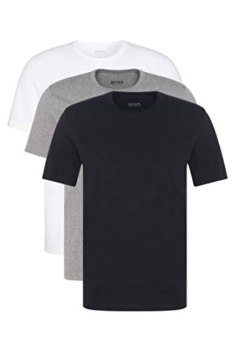BOSS T- Shirt Col Rond Maglietta Regular Fit Uomo, Pacco da 3 Pezzi, Multicolore (White/ Grey/ Black), Large