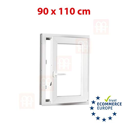 Kunststofffenster | 90x110 cm (900x1100 mm) | weiß | Dreh-Kipp-Fenster | rechts