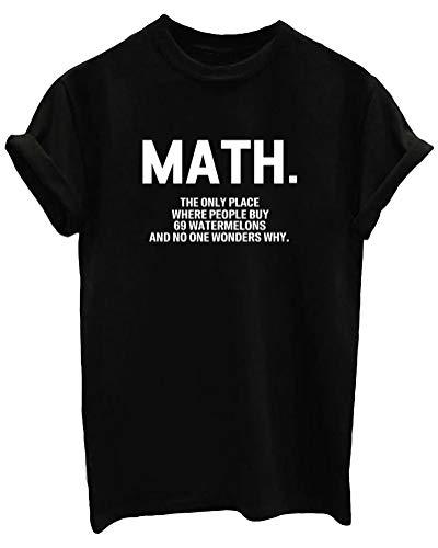 BLACKMYTH Women Graphic Funny T Shirt Cute Tops Teen Girl Tees Black Medium