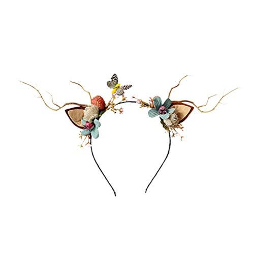 Lurrose cuernos de reno diadema flor banda para el cabello de navidad diadema aros para el cabello para mujer accesorios para el cabello de navidad favor del partido estilo aleatorio