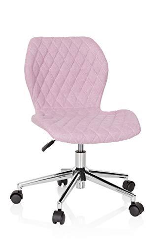 HJH Office, Joy II, 670953, kinder- en jeugdstoel, stof, roze, bureaustoel met wieltjes, meegroeiend