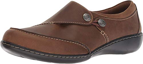 Clarks Women's Ashland Lane Q Loafer, dark tan leather, 7 M US