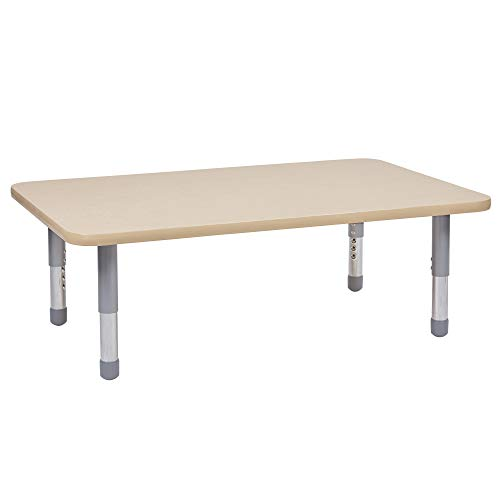 FDP Rectangle Activity Kids Table (30 x 48 inch) Short Silver Floor Legs for Flexible Seating, Collaborative Spaces in-Home and Classroom, Adjustable Height 11-16 inches (Maple Top/Maple Edge)