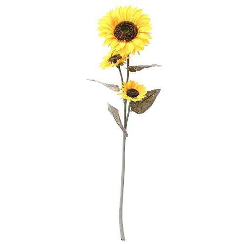 Starline 120cm Große Sonnenblume mit 3 Blüten und Langen Stiel - Star-LINE® Kunstblume bringt Leuchtend gelbe Farbtupfer in Jede Wohnung Kunst Blume Kunstpflanze Helianthus