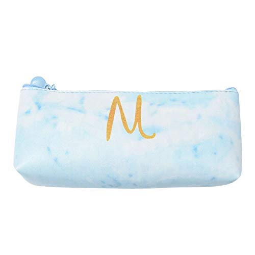Outflower Estuche para lápices de cartas, tamaño grande, 19 x 8 x 2 cm, diseño de mármol, piel sintética, azul, 19cm*8cm*2cm