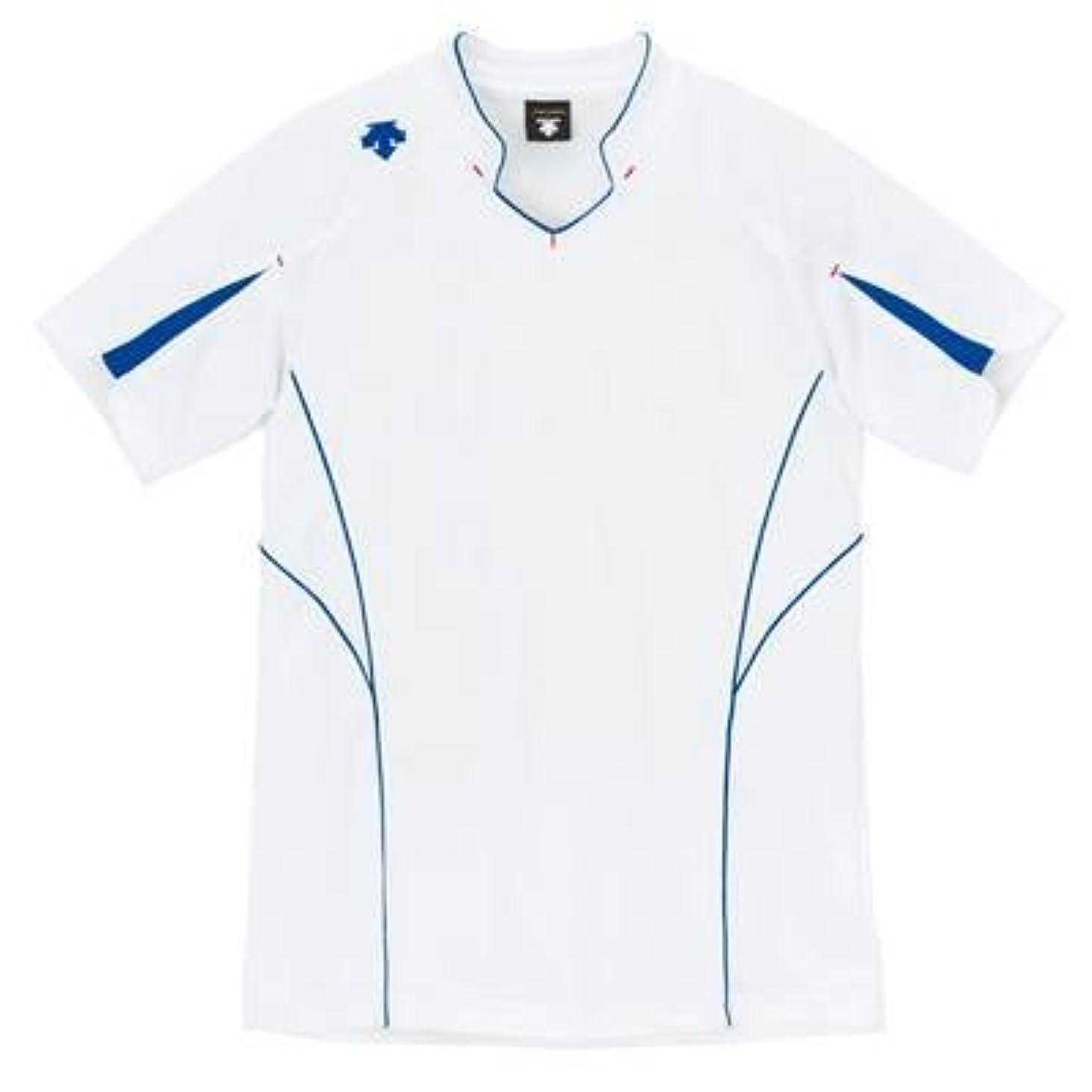 夜の動物園飼い慣らすアラーム(デサント) DESCENTE バレーボール 半袖ゲームシャツ DSS-4822 (WAB ホワイトxAブルー, M)