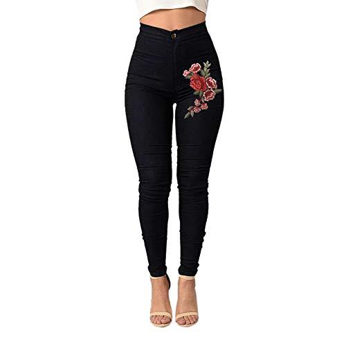 YWLINK Damen Mode Einfarbig Skinny Floral Applikationen Jeans Frauen Slim Hohe Taille Stretch Bleistift Hosen(2XL,Schwarz)