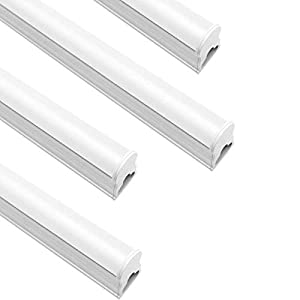 LightingWill LED T5 Integrated Fixture 3FT, Warm White 3000~3500K, 14W, Linkable LED Shop Light, LED Ceiling Light and Under Cabinet Light, Corded Electric with Built-in ON/Off Switch,(4 Pack)