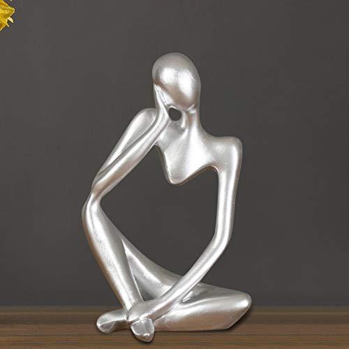 Resin Mini-Character-Figuren Thinker People Abstract Ornament Skulptur Elegant Desk Decor Home Statue Bookshelf Sammlbar Dekoration Geburtstag Geschenk (Weiß, Schwarz, Gold, Silber)