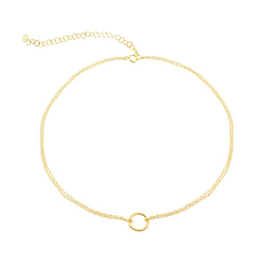 Beaux Bijoux 925 Sterling Silver Italian Adjustable 12-15 Center Circle Of Life Dainty Choker Necklace