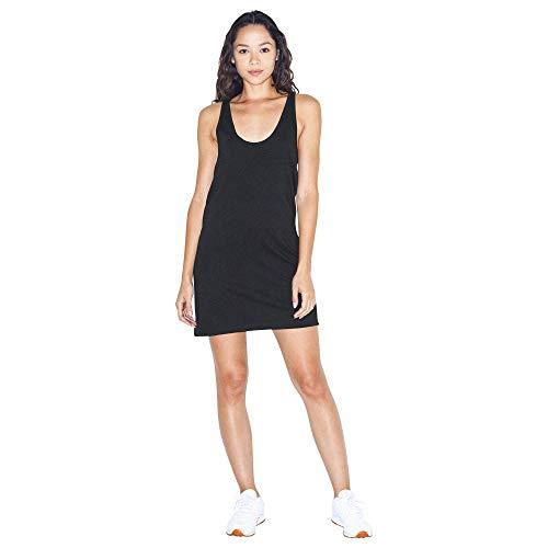 American Apparel Women's Fine Jersey Sleeveless Racerback Tank Dress, Black, Small