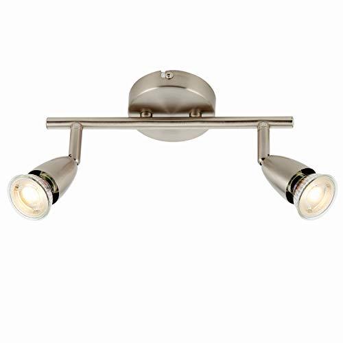 Justerbar takspotlight | Satin nickel 2 ljus downlight | 255 mm dubbel dubbel dubbel bar lampa | köksö bänkskiva/handla kommersiellt över | rörligt lutande roterande huvud | dimbar & LED kompatibel
