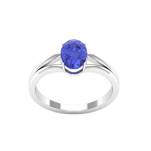 8X6 MM Oval Cut Lab Created Tanzanite Solitaire Ring, Simple Gold Promise Ring, Split Shank Engagement Ring (AAAA Quality), 14K Rose Gold, Size:UK L1/2