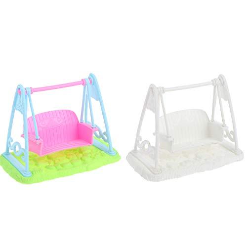 RUIYELE 1/12 casa de muñecas en miniatura para jardín, modelo de silla de plástico, 2 piezas para casa de muñecas, accesorios para casa de muñecas, columpio de dosel de juguete para niños