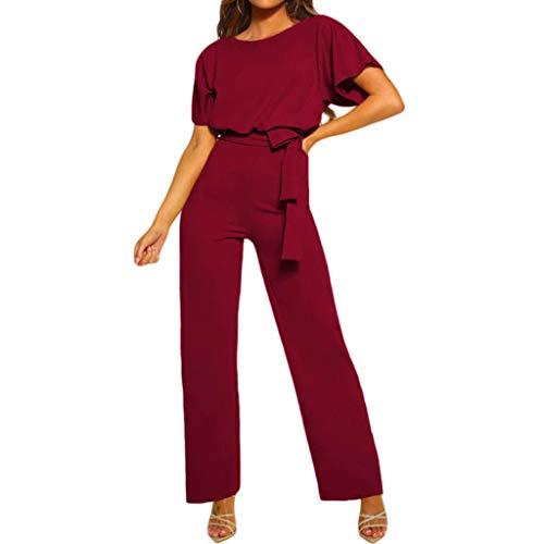 BDWY Jumpsuit voor dames, O-hals, elegant, lange jumpsuit overall broekpak