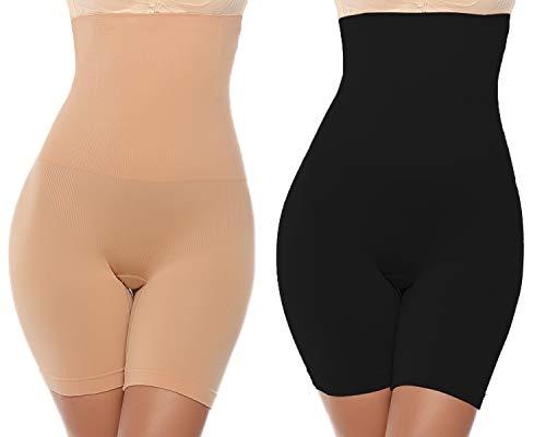 Abollria Intimo Modellante da Donna Guaina Mutande Contenitiva Fascia Elastica a Vita Alta Pantaloncini Snellenti Invisible Body Shapewear Dimagrante (S/Peso:50-60kg, Vita: 67-73cm, B-Nero+Beige)
