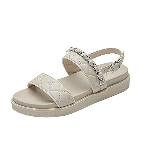 Sandalias romanas para mujer, cadena de Metal, punta abierta, plataforma al aire...