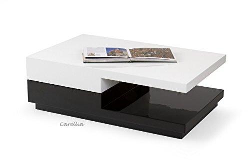 CARELLIA Table Basse Design RECTANGULAIRE Laque – Blanc/Noir