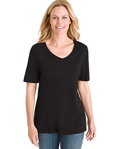 Chico's Women's Short Sleeve V-Neck Slub Tee, Black, 8/10 - M (1)