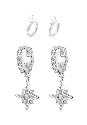 Elli Ohrringe Damen Creolen Set Astro Trend mit Swarovski® Kristallen in 925 Sterling Silber