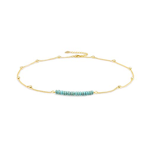 18K Gold Satellite Beaded Curb Ball Chain Choker Turquoise Beads Bar Necklace Handmade Pendant Jewelry Adjustable for Women 16+ 2