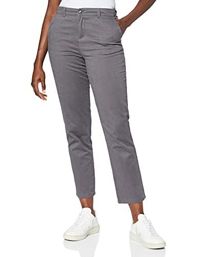 Marchio Amazon - MERAKI Pantalone Slim Fit con Pinces Donna, Grigio (Blackened Pearl: 19-3917 Tcx), 42, Label: S