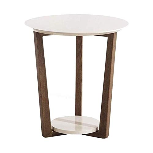 DSWHM End Table, 2 Tier Solid Wood Round Side Table, Vintage Nightstand for Living Room, Bedroom