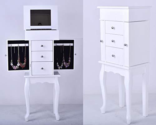 Decohouse - Mesita joyero - Organizador con Espejo Blanco - Regalo Ideal