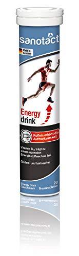 sanotact Energy drink Brausetabletten, Nahrungsergänzungsmittel mit Koffein und Taurin zur Erhöhung der Aufmerksamkeit, 20 Stück