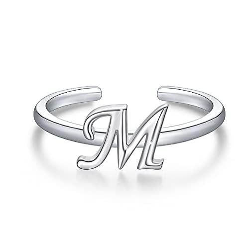 Anillos de letras iniciales apilables de plata de ley 925, anillo de letra M del alfabeto en mayúscula, banda inicial ajustable para mujeres y niñas