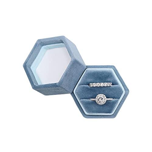 Hexagon Velvet Double Slots Ring Heirlooms Box Engagement Ring Box (Ocean Blue)