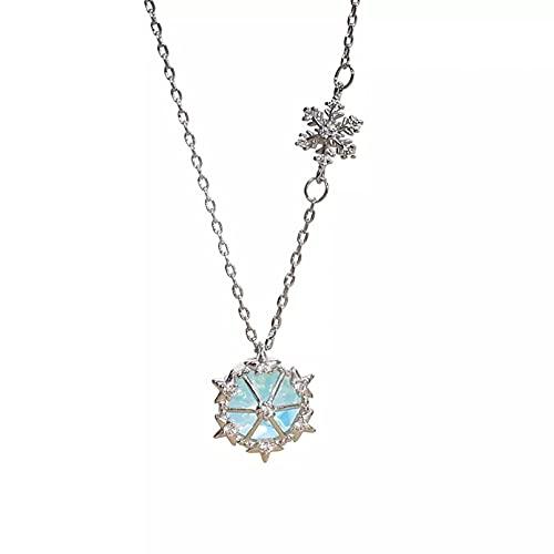 YQMJLF Collar Moda Accesorios Collares Mujer Collar de Copo de Nieve de ensueño Mujer Nueva joyería de Moda diseño de Lujo Ligero Cadena de Collar con Colgante de Diamantes de imitación Grande