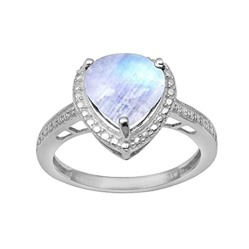 Shine Jewel Multi Elija su Piedra Preciosa Anillo Solitario de Plata esterlina 925 en Forma de corazón de 3,50 Ctw (8, Piedra de la Luna)