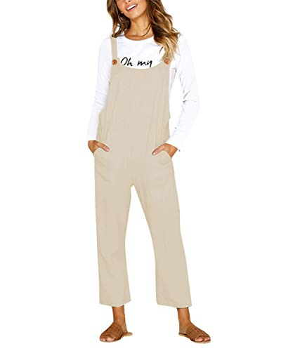 CNFIO Pantalones Mujer Casual Ajustable Correa Monos Rompers Flojo Retro Harem Mamelucos Jumpsuits Overalls con Bolsillo Invierno