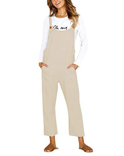 CNFIO Pantalones Mujer Casual Ajustable Correa Monos Rompers Flojo Retro Harem Mamelucos Jumpsuits Overalls con Bolsillo C-Beige XXL