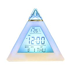 N/X Alarm Clock ZGGZS Table Clocks Triangled 7 Colors Changing Led Temperature Week Display Digital Alarm Clock Table Decor 8.58.58.5cm 1pc