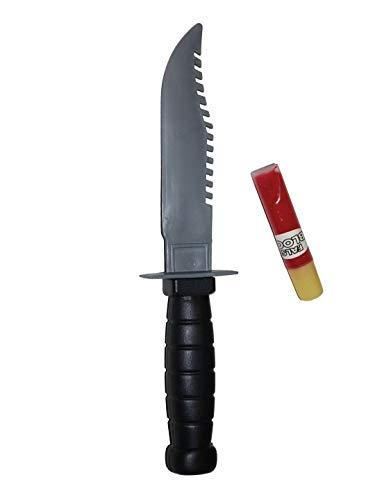 erdbeerclown–Disfraz Accesorios Accesorios, Cuchillo Daga con Fake Sangre, 23cm, Dagger with Fake Blood, Halloween Carnaval y, Plata