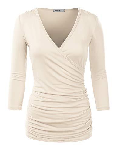Doublju Womens 3/4 Sleeve VNeck Surplice Wrap Shirt with Plus Size Ivory Medium