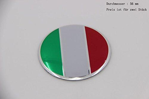 R281 italienische Flagge 2 stück Felgendeckel Italy Italien 3D Emblem Abziehbild Auto Aufkleber Nabendeckel Radkappen Nabenkappen 56 mm