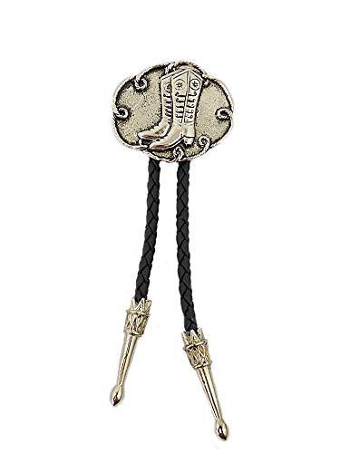 wexpress Bolo Tie Corbata del Oeste, cordón de piel, botas de vaquero
