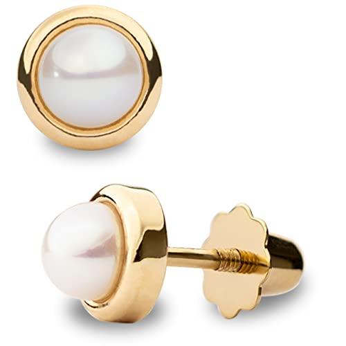 Pendientes para Bebés y Niñas de Perlas Blancas Redondas con montura en forma de Garra o Círculo de Oro 18K - SECRET & YOU - Tuerca de rosca especial para bebés y niñas