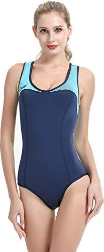 Cressi Damen DEA Swimming Wetsuit Neopren Badeanzug 1mm Neoprenanzug, Blau/Hellblau, XS/1