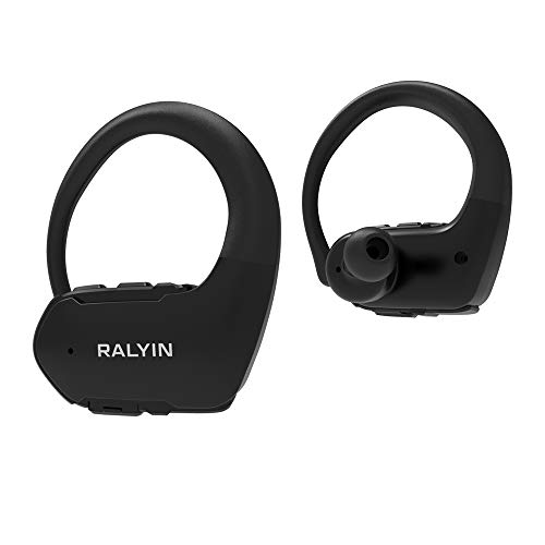 Ear hook Headphones Ralyin Bluetooth Sport Headphones Stereo Bass Sound TWS Ear Buds Over Ear Sweatproof Headset 10 Hours Playtime Wireless Earphones with Mic for Running/Working Out