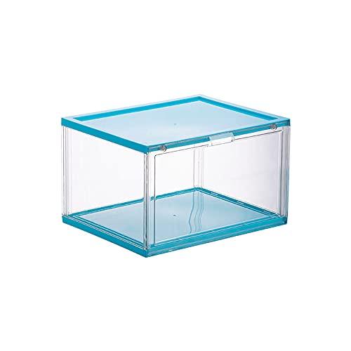 XIAOHUAHUA Organizador de 36,5 x 28 x 22 cm, contenedor de zapatos plegable, caja de almacenamiento de zapatos, plástico transparente, apilable, zapatos delanteros (transparente), azul