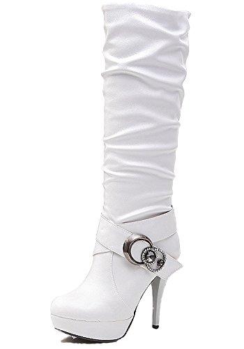 Damen Wasserdichte Stiefel Mit Hohen Absätzen Fein Stiefel Elegant Langschaftstiefel Strasssteine Gürtelschnalle Schuhe Weiß EU 39