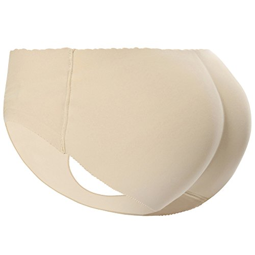 Women Padded Panties Butt Hip Enhancer Briefs Seamless Underwear Beige S