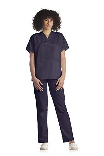 Tecno Hospital Divisa completa ospedaliera unisex, OSS, estetica, infermiere, casacca e pantalone (blu navy, s)